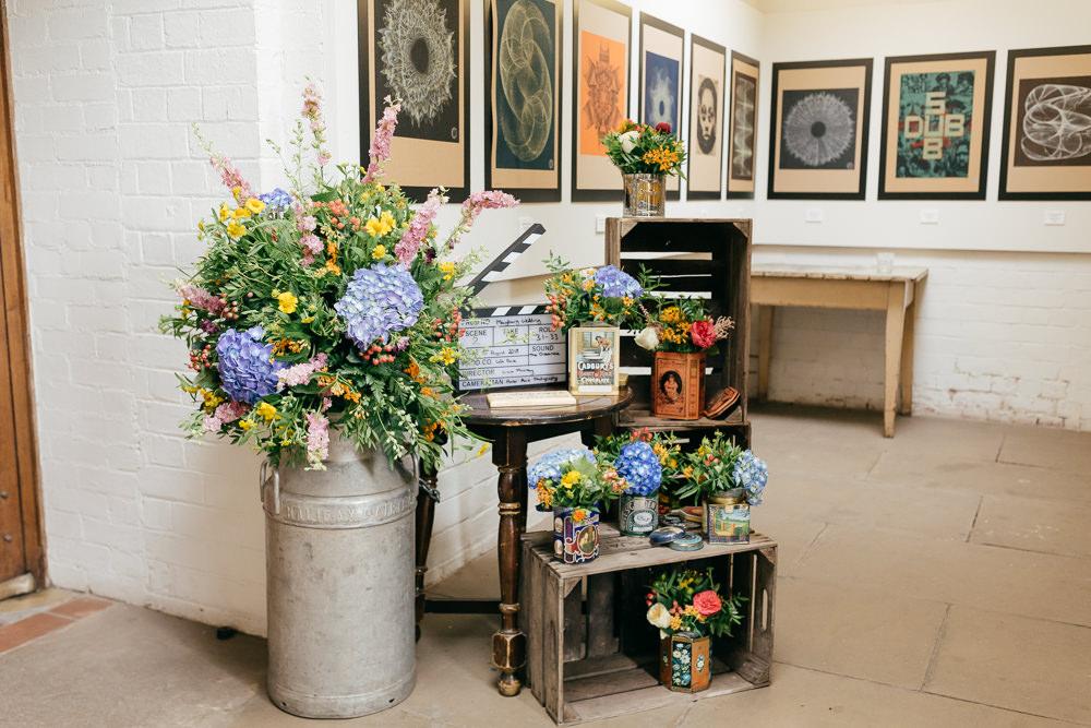 Milk Churn Flowers Floral Vintage Wooden Crates Hydrangea Left Bank Leeds Wedding Amber Marie Photography