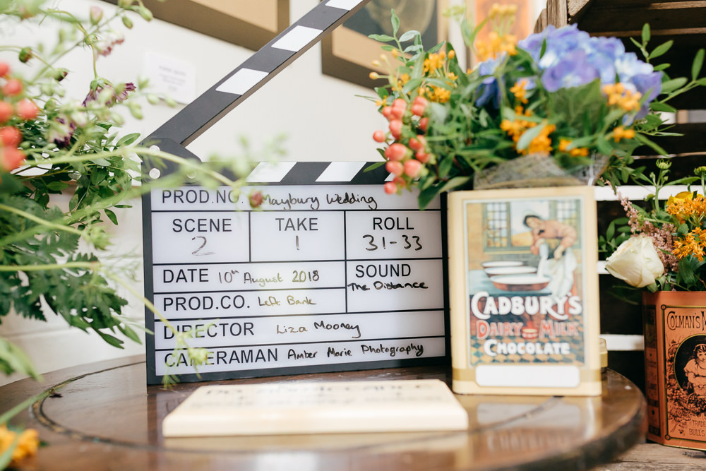 Clapper Board Flowers Floral Left Bank Leeds Wedding Amber Marie Photography
