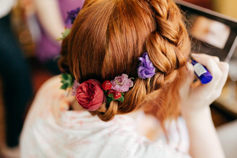 Bride Bridal Halo Braid Plait Flower Left Bank Leeds Wedding Amber Marie Photography