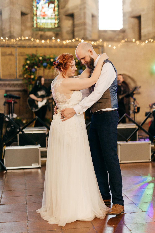 Bride Bridal Sweetheart Overlay Dress Navy Suit Groom Tweed Waistcoat Left Bank Leeds Wedding Amber Marie Photography
