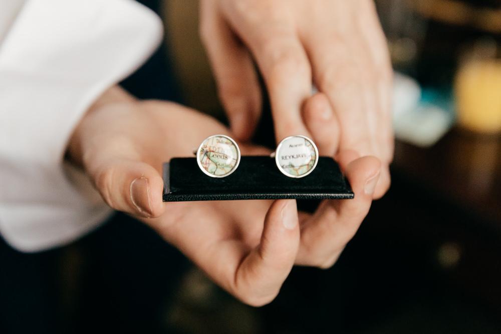 Map Cufflinks Left Bank Leeds Wedding Amber Marie Photography