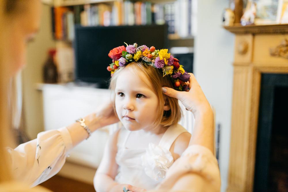Flower Girl Floral Crown Left Bank Leeds Wedding Amber Marie Photography