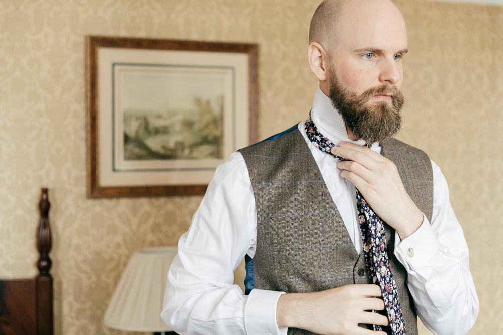 Groom Tweed Waistcoat Floral Tie Left Bank Leeds Wedding Amber Marie Photography