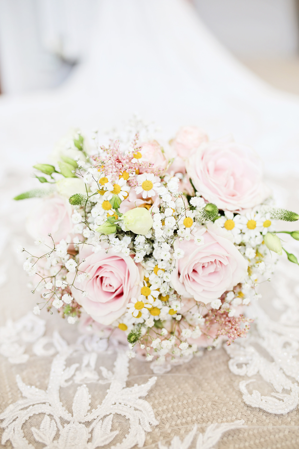 Bouquet Flowers Bride Bridal Pink Rose Gypsophila Daisy Milling Barn Wedding Victoria Mitchell Photography