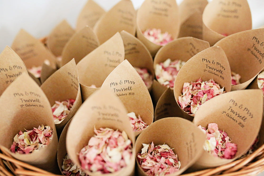 Confetti Cones Basket Personalised Petals Milling Barn Wedding Victoria Mitchell Photography