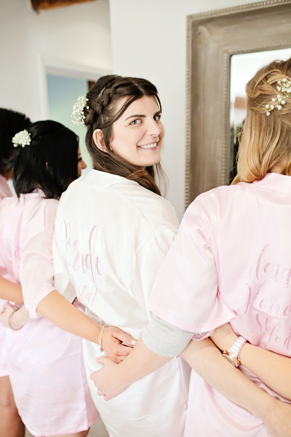 Bride Bridal Robe Dressing Gown Milling Barn Wedding Victoria Mitchell Photography