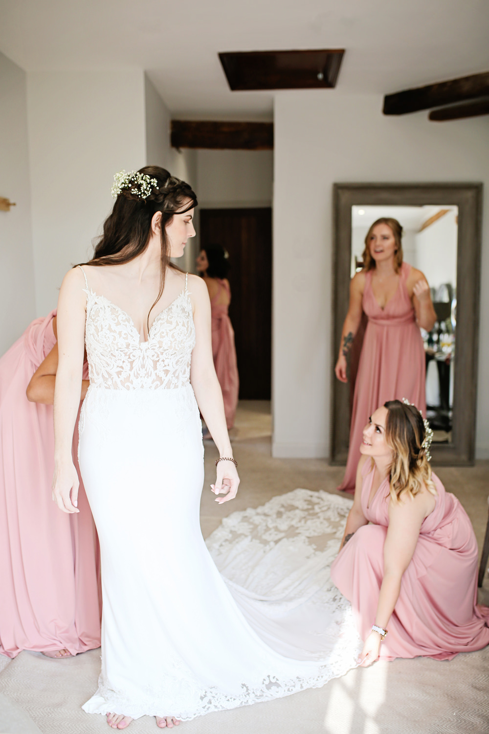 Bride Bridal Dress Gown Fit Flare Fishtail Train Straps Lace Enzoani Milling Barn Wedding Victoria Mitchell Photography