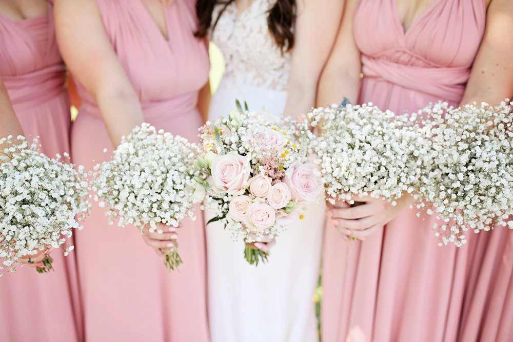 Bouquet Flowers Bride Bridal Pink Rose Gypsophila Daisy Bridesmaids Milling Barn Wedding Victoria Mitchell Photography