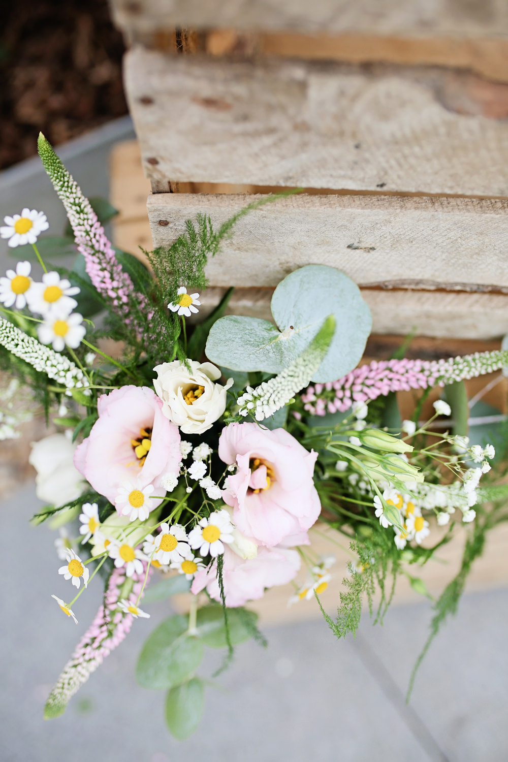 Box Crate Wooden Decor Flowers Pink Lisianthus Daisy Milling Barn Wedding Victoria Mitchell Photography