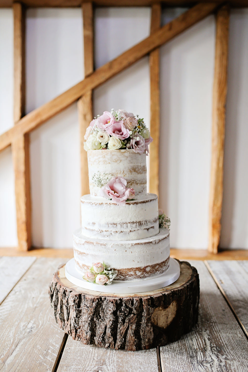 Semi Naked Cake Buttercream Flowers Log Stand Pink Milling Barn Wedding Victoria Mitchell Photography