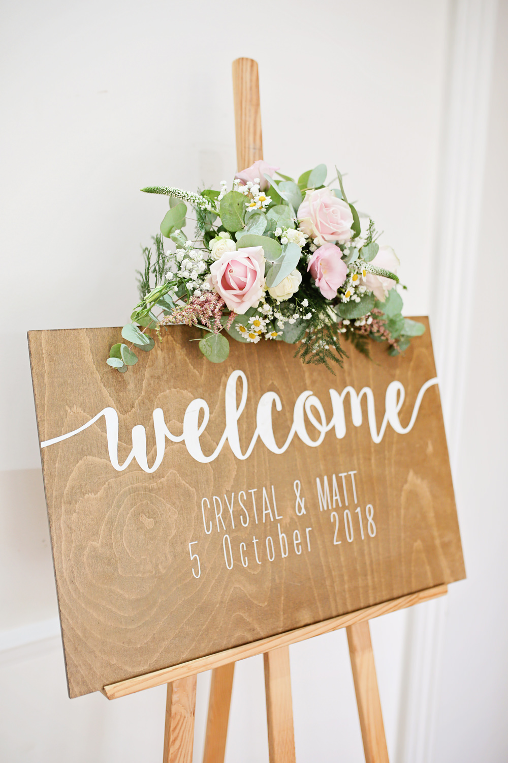 Wooden Sign Signage Calligraphy Lettering Welcome Flowers Milling Barn Wedding Victoria Mitchell Photography