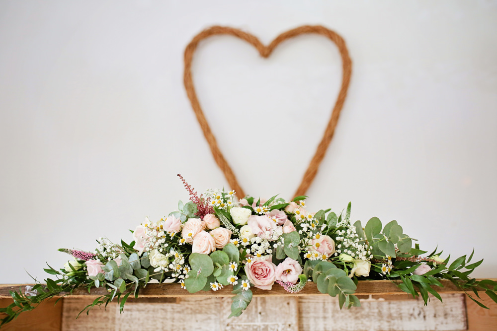 Wicker Heart Flowers Pink Rose Lisianthus Daisy Ceremony Table Milling Barn Wedding Victoria Mitchell Photography
