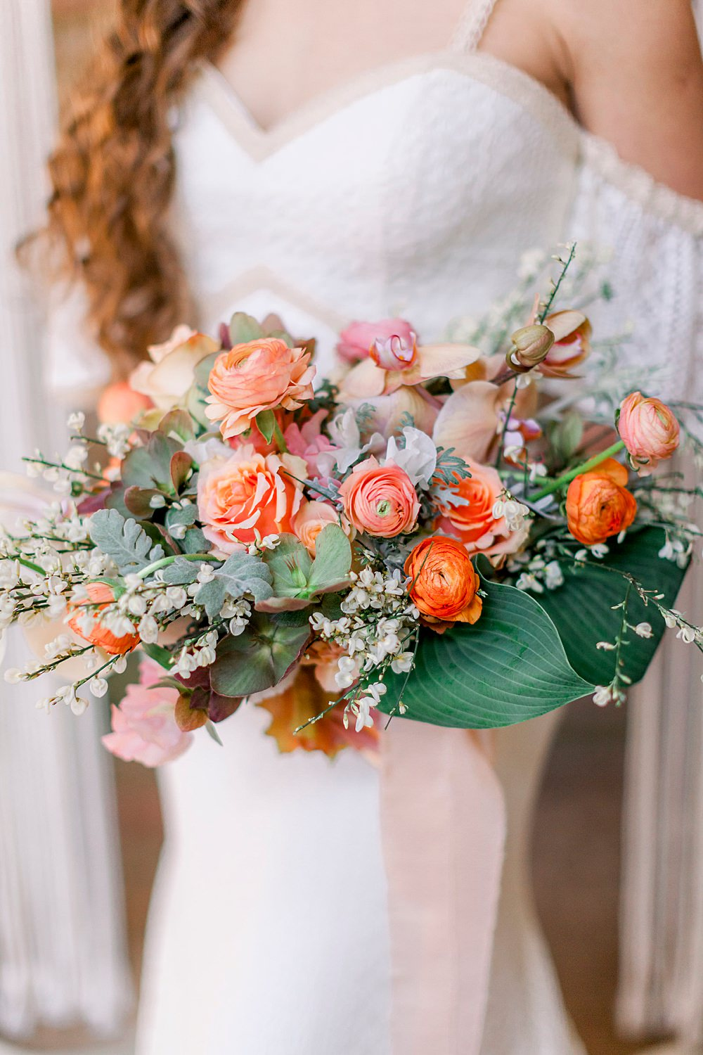Bouquet Flowers Bride Bridal Coral Orange Silk Ribbons Rose Orchid Ranunculus Natural Boho Industrial Wedding Ideas Jo Bradbury Photography