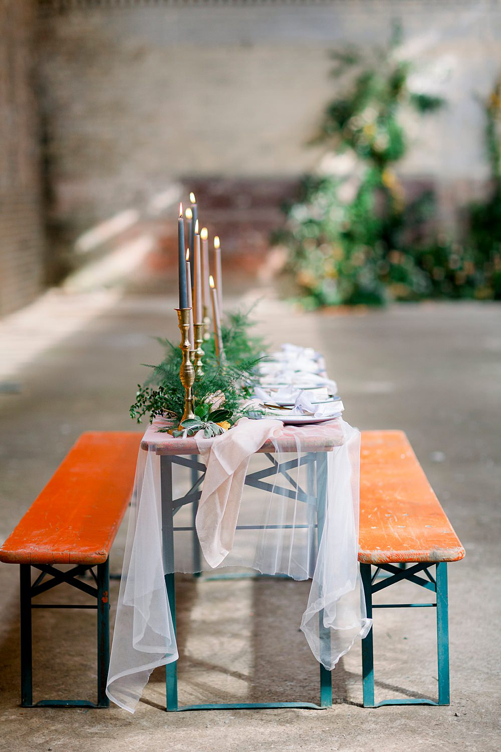 Tablescape Table Decor Tulle Coral Orange Cloths Candles Greenery Foliage Natural Boho Industrial Wedding Ideas Jo Bradbury Photography