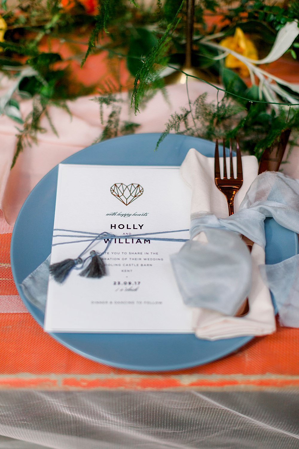 Place Setting Decor Heart Stationery Tassel Natural Boho Industrial Wedding Ideas Jo Bradbury Photography