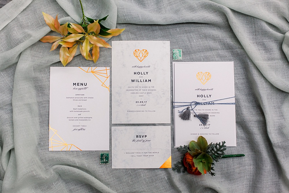 Stationery Invite Invitations Marble Gold Heart Tassel Natural Boho Industrial Wedding Ideas Jo Bradbury Photography