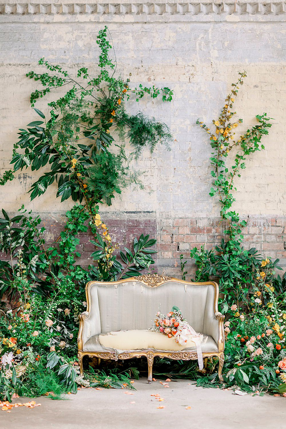 Backdrop Greenery Foliage Wall Installation Flowers Natural Boho Industrial Wedding Ideas Jo Bradbury Photography