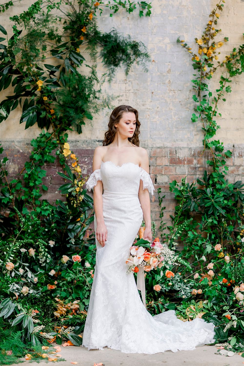 Backdrop Greenery Foliage Wall Installation Flowers Dress Gown Bride Bridal Stelfox Bride Lace Off Shoulder Bardot Fit Flare Natural Boho Industrial Wedding Ideas Jo Bradbury Photography