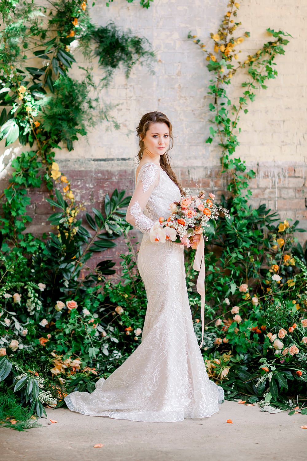 Dress Gown Bride Bridal Stelfox Bride Lace Long Sleeves Fit Flare Natural Boho Industrial Wedding Ideas Jo Bradbury Photography