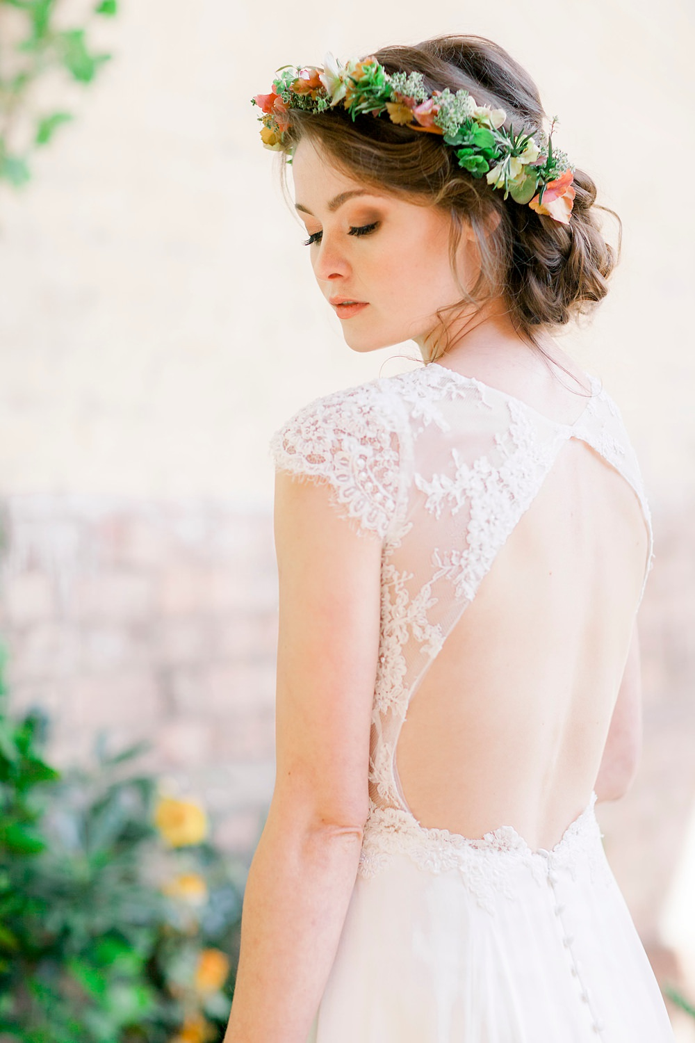 Dress Gown Bride Bridal Stelfox Bride Lace Open Back Natural Boho Industrial Wedding Ideas Jo Bradbury Photography
