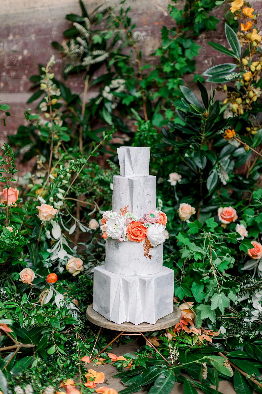 Grey Cake Concrete Marble Stone Wire Stand Orange Flowers Geometric Modern Greenery Foliage Backdrop Natural Boho Industrial Wedding Ideas Jo Bradbury Photography