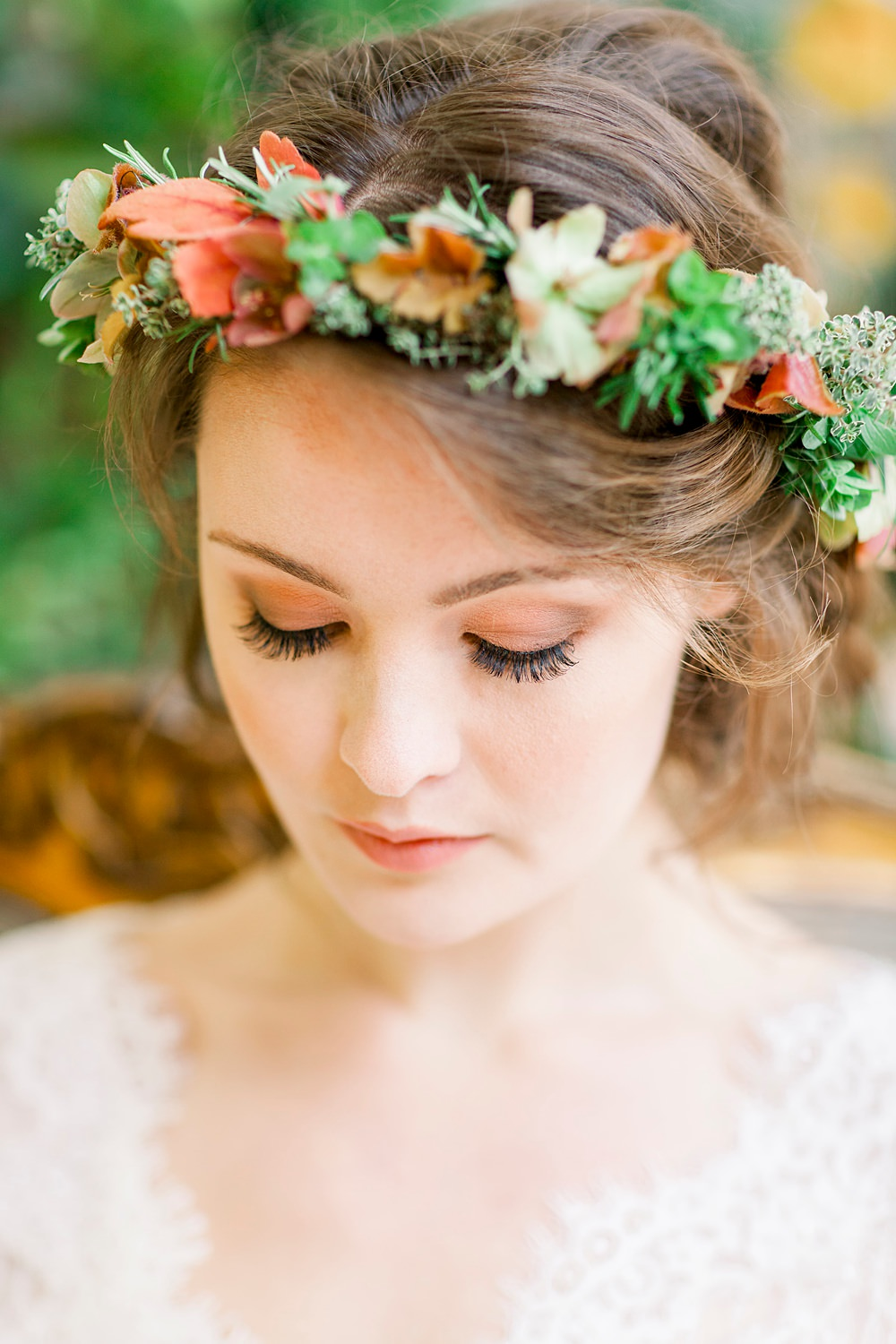 Flower Crown Bride Bridal Make Up Natural Boho Industrial Wedding Ideas Jo Bradbury Photography
