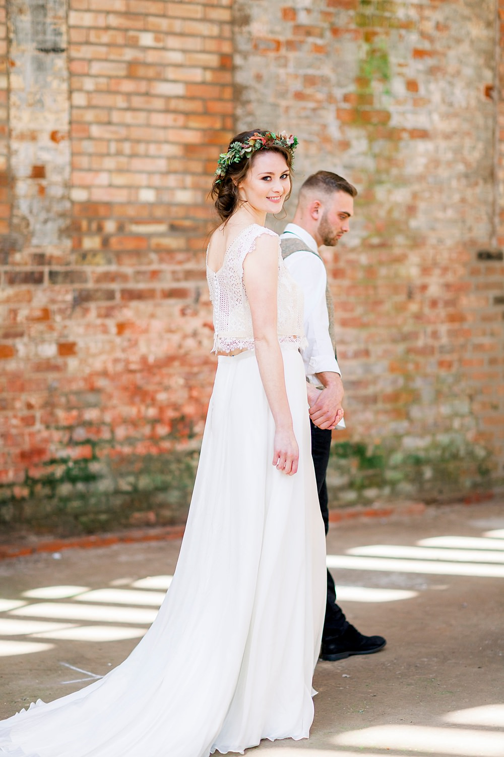 Dress Gown Bride Bridal Stelfox Bride Lace Top Skirt Natural Boho Industrial Wedding Ideas Jo Bradbury Photography