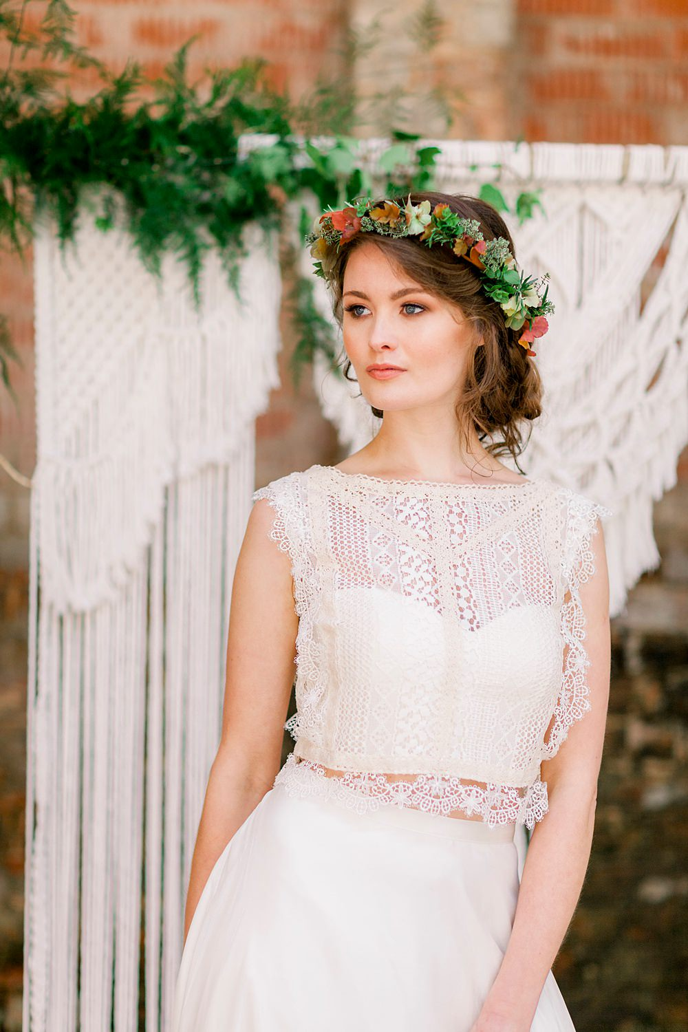 Flower Crown Bride Bridal Make Up Dress Gown Bride Bridal Stelfox Bride Lace Top Skirt Natural Boho Industrial Wedding Ideas Jo Bradbury Photography