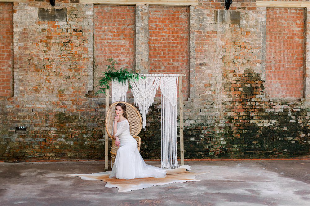 Backdrop Macrame Wooden Frame Greenery Aisle Ceremony Peacock Chair Natural Boho Industrial Wedding Ideas Jo Bradbury Photography