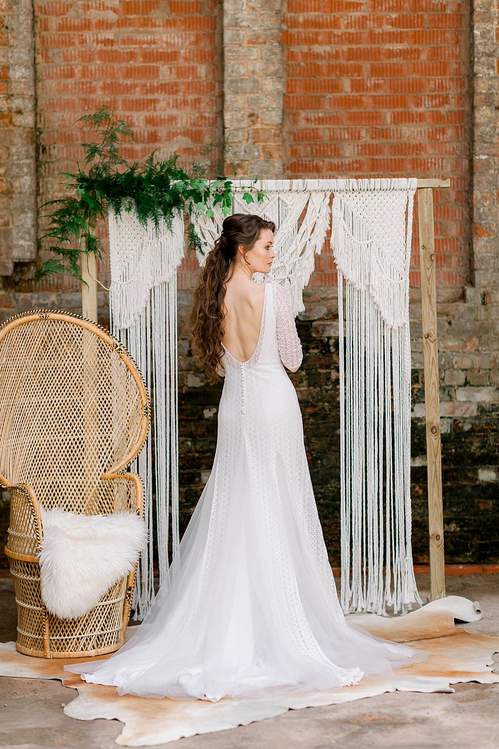Dress Gown Bride Bridal Stelfox Bride Lace Tulle Low Back Sleeves Train Natural Boho Industrial Wedding Ideas Jo Bradbury Photography