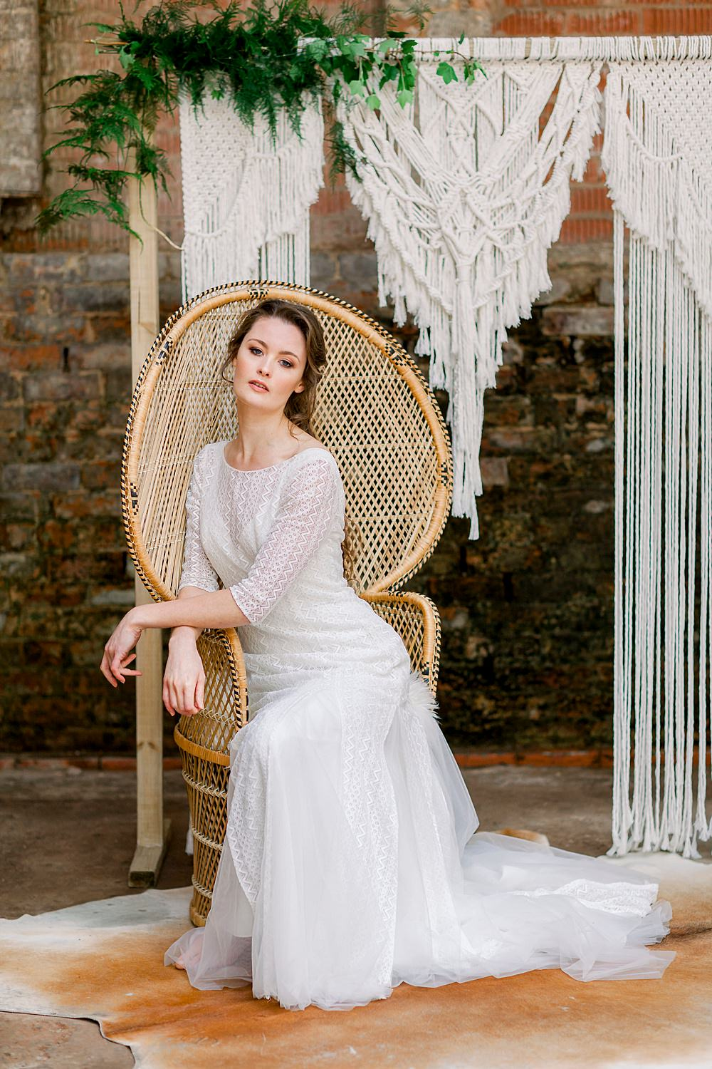 Dress Gown Bride Bridal Stelfox Bride Lace Tulle Low Back Sleeves Train Peacock Chair Natural Boho Industrial Wedding Ideas Jo Bradbury Photography