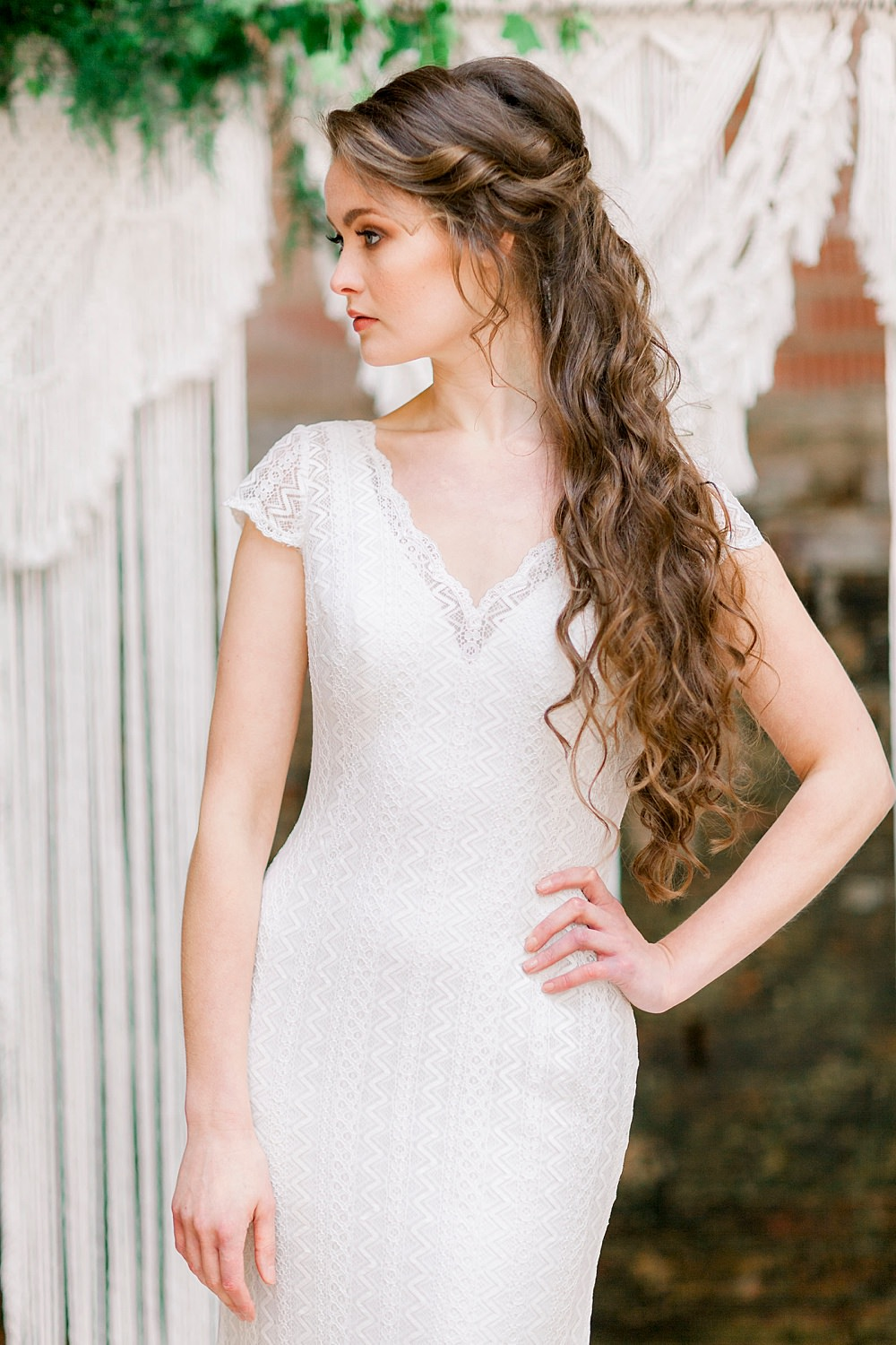 Dress Gown Bride Bridal Stelfox Bride Lace Cap Sleeves Natural Boho Industrial Wedding Ideas Jo Bradbury Photography