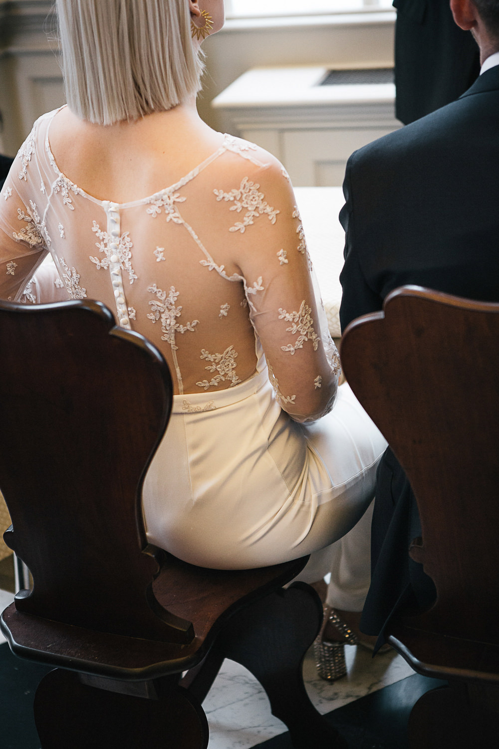 Bride Bridal House of Ollichon Jumpsuit Trousers Lace Sleeves Back Greenery Orleans House Gallery Wedding My Beautiful Bride Photography