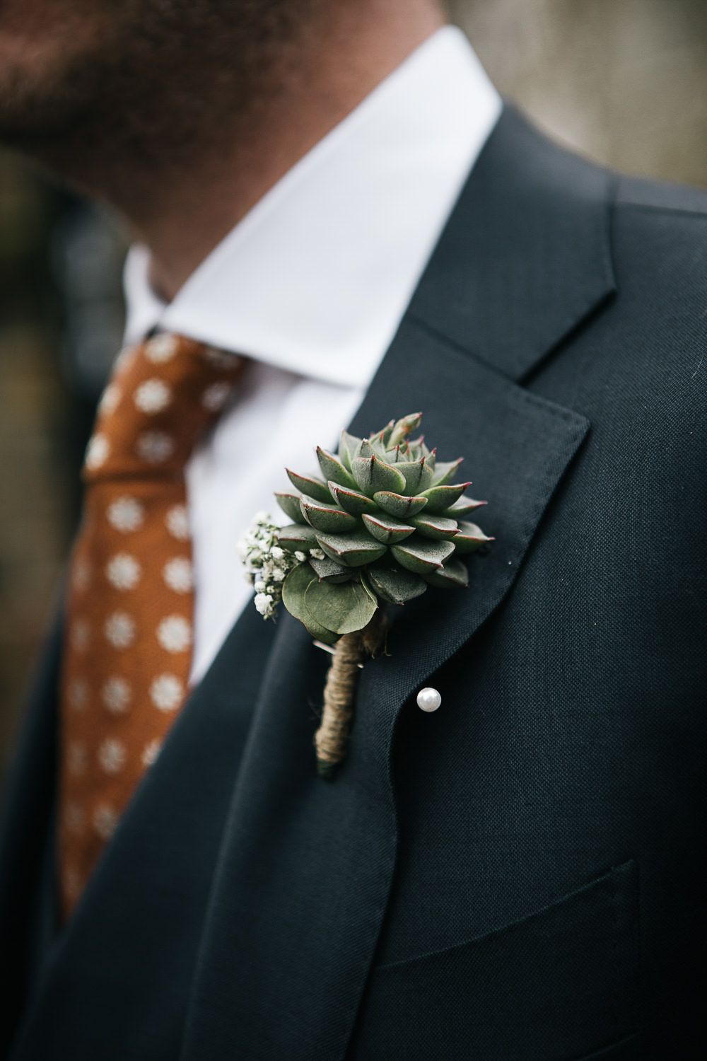 Groom Groomsmen Suits Orange Tie Polka Dot Spotty Succulent Buttonhole Orleans House Gallery Wedding My Beautiful Bride Photography