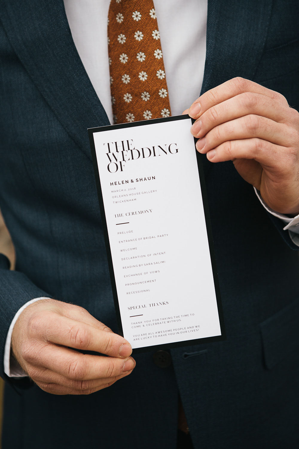 Stationery Modern Graphic Order Day Service Orleans House Gallery Wedding My Beautiful Bride Photography