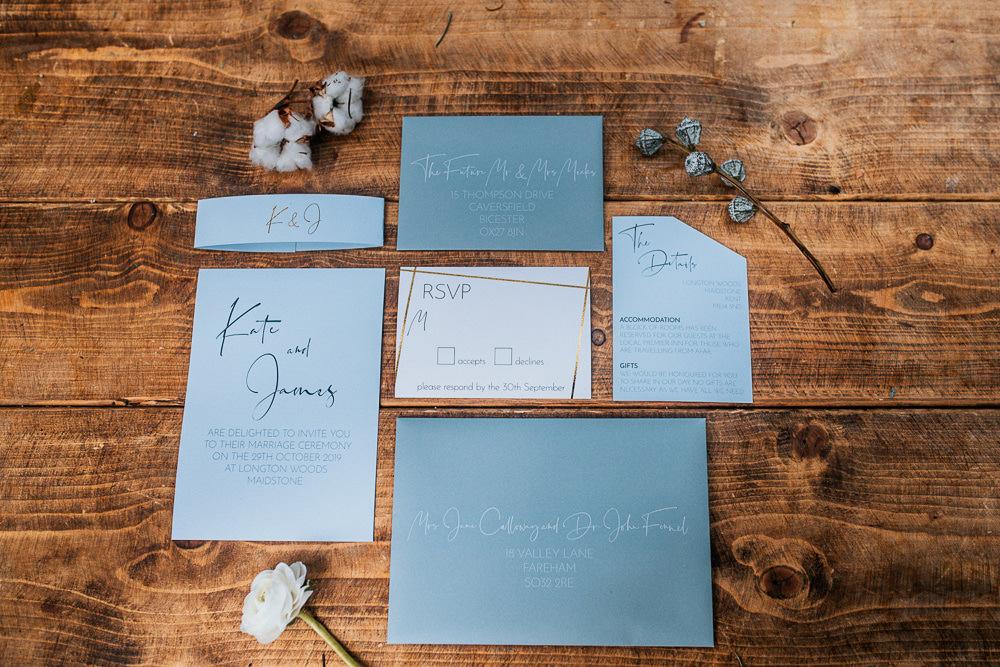 Stationery Invites Invitations Bllue Calligraphy Gold Outdoor Woodland Wedding Ideas Geometric Meraki Wedding Photography