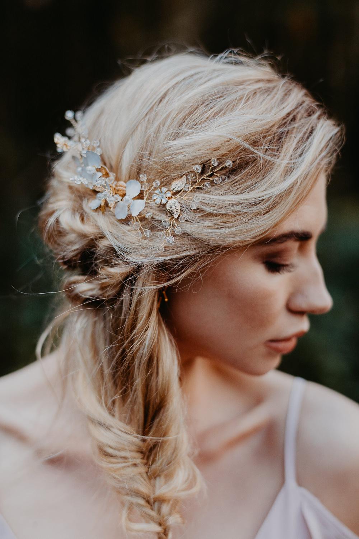 Hair Bride Bridal Bridesmaid Style Up Do Plait Braid Accessory Gold Outdoor Woodland Wedding Ideas Geometric Meraki Wedding Photography