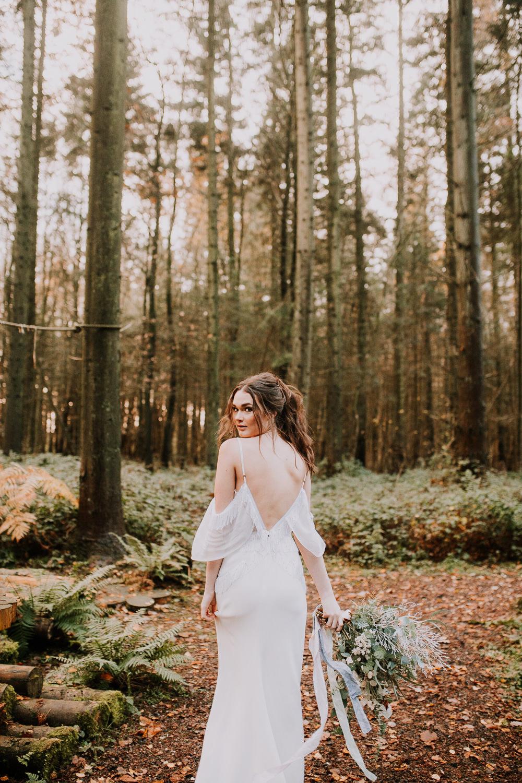 Bride Bridal Dress Gown Bohemian Flowing Tassel Fringe Outdoor Woodland Wedding Ideas Geometric Meraki Wedding Photography