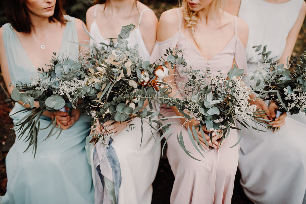 Bouquets Bride Bridal Bridesmaid Flowers Foliage Greenery Brunia Berries Anemones Ranunculus Outdoor Woodland Wedding Ideas Geometric Meraki Wedding Photography