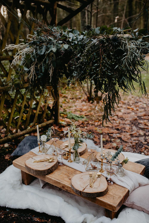 Tablescape Decor Table Greenery Foliage Suspended Hanging Installation Outdoor Woodland Wedding Ideas Geometric Meraki Wedding Photography