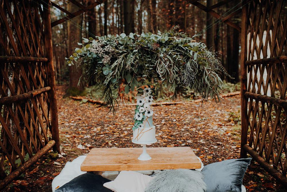 Cake Table Greenery Foliage Suspended Hanging Installation Outdoor Woodland Wedding Ideas Geometric Meraki Wedding Photography