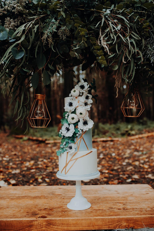 Cake Table Flowers Floral Copper Gold Outdoor Woodland Wedding Ideas Geometric Meraki Wedding Photography