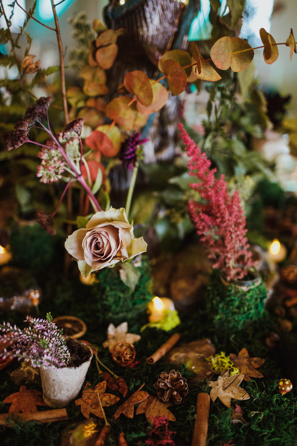 Centrepiece Decor Greenery Foliage Autumn Autumnal Flowers Moss Pine Cones Leaves Ox Pasture Hall Wedding Photography34
