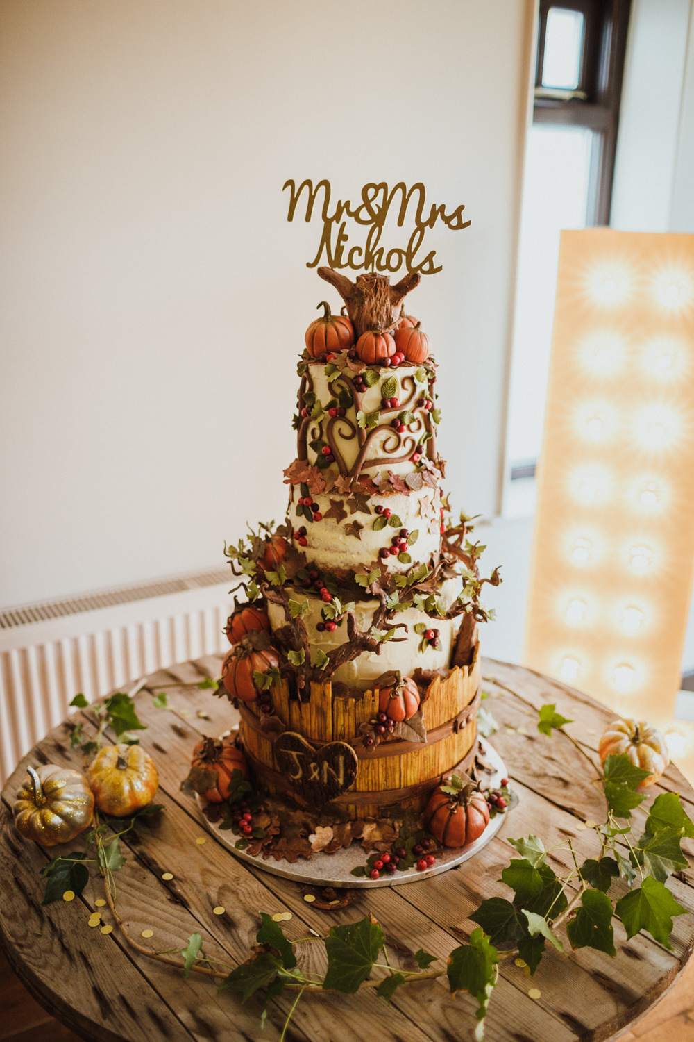 Autumn Autumnal Cake Pumpkins Leaves Berries Ox Pasture Hall Wedding Photography34