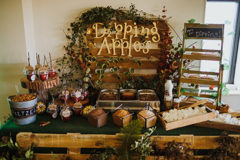 Dipping Apples Sweets Treats Dessert Food Bar Station Table Autumn Autumnal Ox Pasture Hall Wedding Photography34