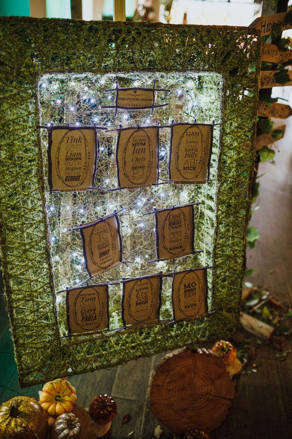 Seating Plan Table Chart Autumn Fairy Lights Ox Pasture Hall Wedding Photography34