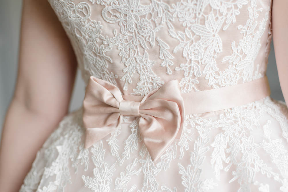 Bride Bridal Blush Bow Belt Penally Abbey Wedding Eleanor Jane Photography