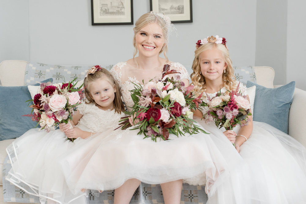 Bride Bridal Short Tea Length Dress Lace V Neck Short Sleeved Flower Girls Blush Burgundy Penally Abbey Wedding Eleanor Jane Photography