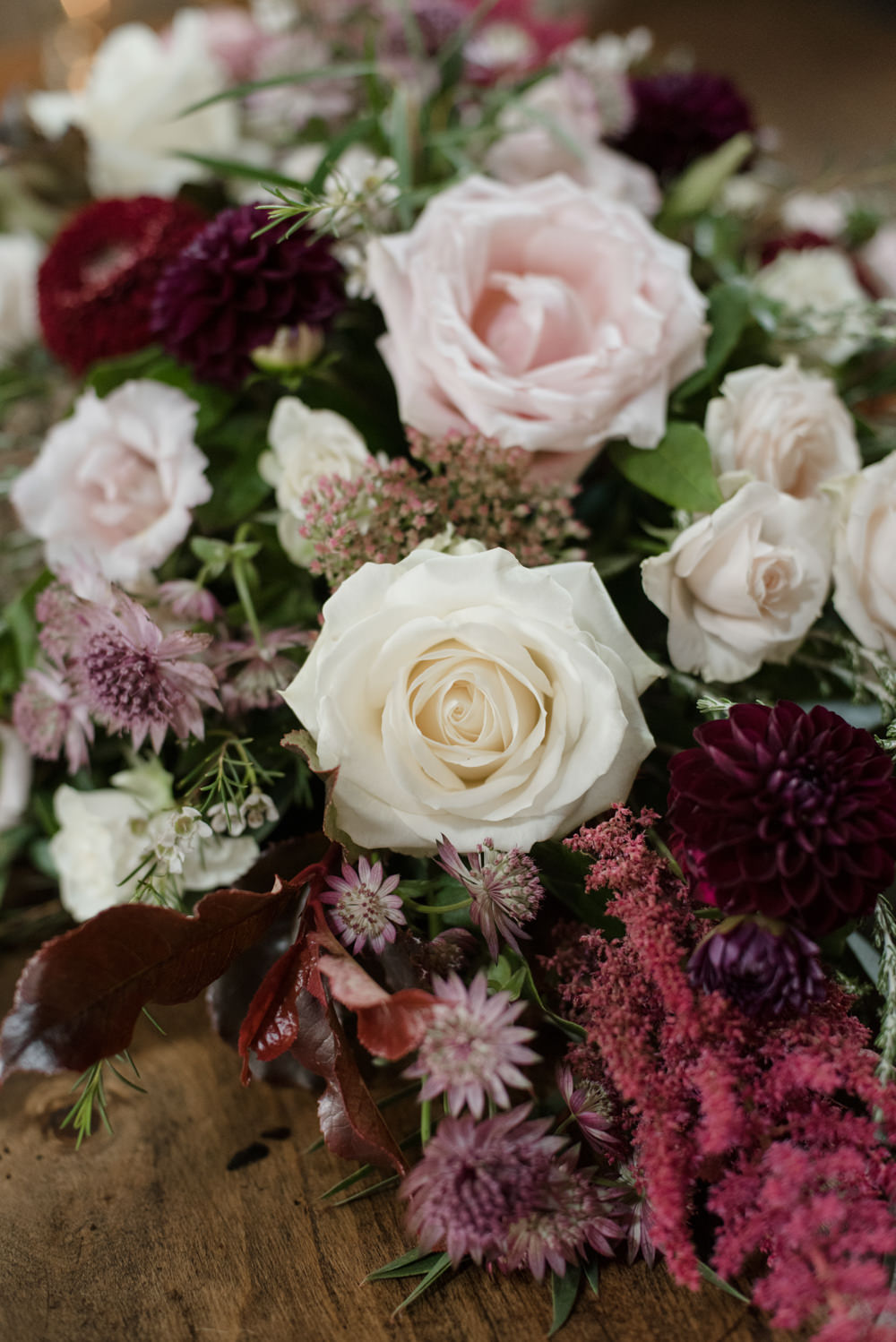 Pink White Rose Burgundy Bouquet Penally Abbey Wedding Eleanor Jane Photography