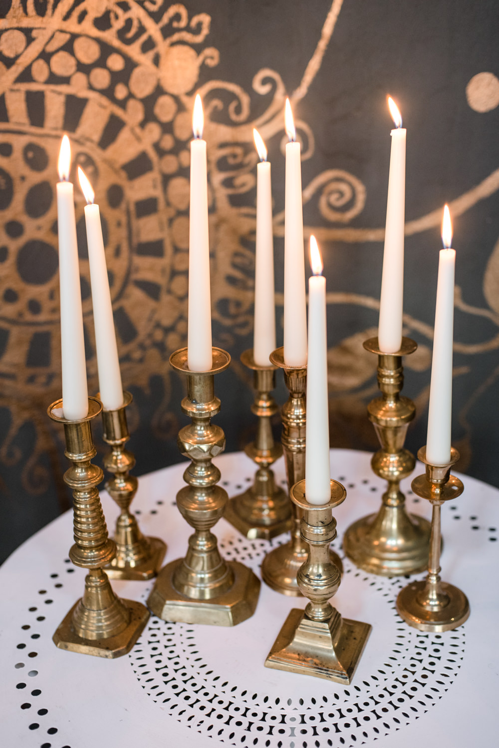 Brass Candlesticks Penally Abbey Wedding Eleanor Jane Photography